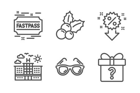 Christmas holly, Hotel and Sunglasses icons simple set. Fastpass, Discount and Secret gift signs. Ilex aquifolium, Travel. Holidays set. Line christmas holly icon. Editable stroke. Vector
