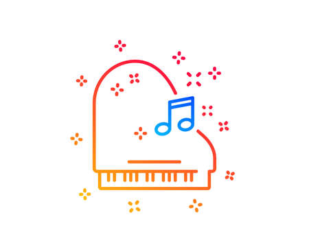 Piano line icon. Musical instrument sign. Music note symbol. Gradient design elements. Linear piano icon. Random shapes. Vector