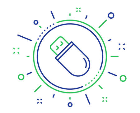 Usb stick line icon. Computer memory component sign. Data storage symbol. Quality design elements. Technology usb stick button. Editable stroke. Vector
