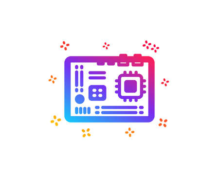 Motherboard icon. Computer component hardware sign. Dynamic shapes. Gradient design motherboard icon. Classic style. Vector
