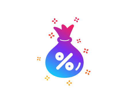 Loan icon. Money bag sign. Credit percentage symbol. Dynamic shapes. Gradient design loan icon. Classic style. Vector