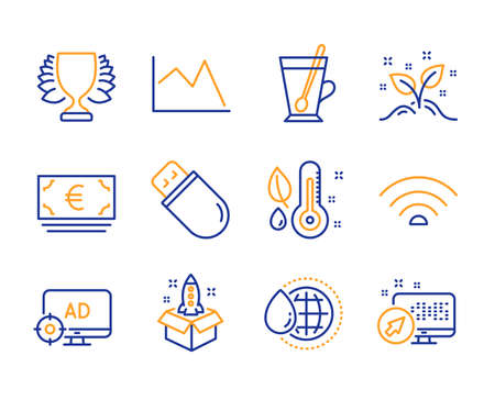 Tea mug, Thermometer and Euro currency icons simple set. Seo adblock, Wifi and World water signs. Winner, Line chart and Usb stick symbols. Startup concept, Startup and Web system. Line tea mug icon