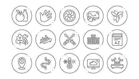 Timeline path, Fan engine and Profits chart line icons. Jet turbine, Wind energy and Cloud services. Linear icon set. Line buttons with icon. Editable stroke. Vector