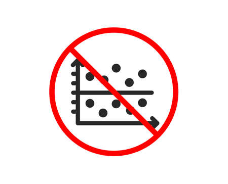 No or Stop. Dot plot graph icon. Presentation chart sign. Market analytics symbol. Prohibited ban stop symbol. No dot plot icon. Vector