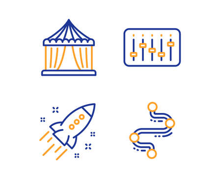 Dj controller, Startup rocket and Circus tent icons simple set. Timeline sign. Musical device, Business innovation, Attraction park. Journey path. Business set. Linear dj controller icon. Vector Imagens - 124559272