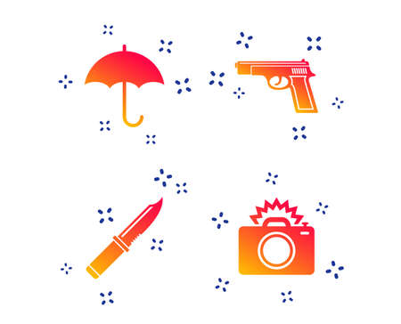 Gun weapon icon.Knife, umbrella and photo camera with flash signs. Edged hunting equipment. Prohibition objects. Random dynamic shapes. Gradient gun icon. Vector