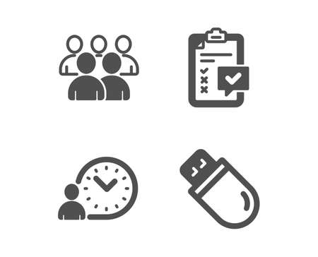 Set of Time management, Checklist and Group icons. Usb stick sign. Work time, Survey, Developers. Memory flash.  Classic design time management icon. Flat design. Vector