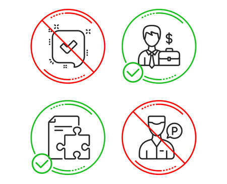 Do or Stop. Strategy, Confirmed and Businessman case icons simple set. Valet servant sign. Puzzle, Accepted message, Human resources. Parking man. Business set. Line strategy do icon. Vector