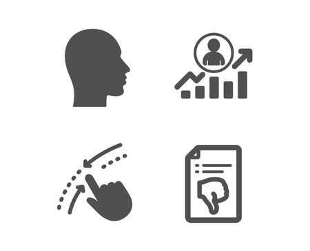 Set of Swipe up, Career ladder and Head icons. Thumb down sign. Touch down, Manager results, Human profile. Decline file.  Classic design swipe up icon. Flat design. Vector