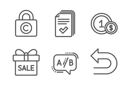 Sale offer, Ab testing and Handout icons simple set. Usd coins, Copyright locker and Undo signs. Gift box, Test chat. Business set. Line sale offer icon. Editable stroke. Vector