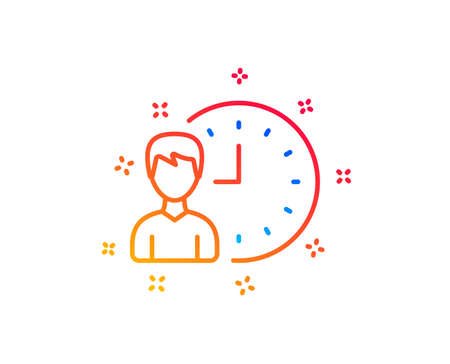 Business project deadline line icon. Working hours or Time management sign. Gradient design elements. Linear working hours icon. Random shapes. Vector