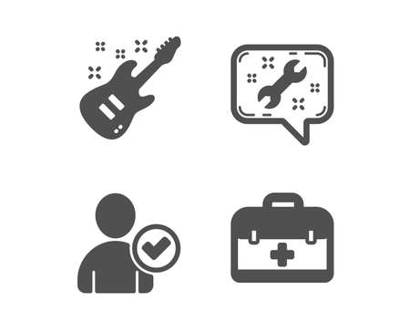 Set of Identity confirmed, Electric guitar and Spanner icons. First aid sign. Person validated, Musical instrument, Repair service. Medicine case.  Classic design identity confirmed icon. Flat design