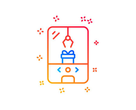 Crane claw machine line icon. Amusement park sign. Carousels symbol. Gradient design elements. Linear crane claw machine icon. Random shapes. Vector