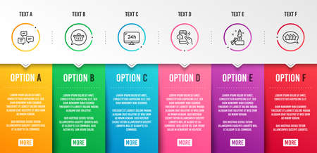 Chat messages, 24h service and Shopping cart icons simple set. Call center, Innovation and Stars signs. Communication, Call support. Technology set. Infographic template. 6 steps timeline. Vector