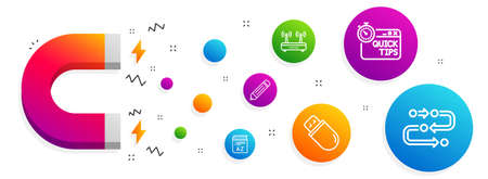 Magnet attracting. Usb stick, Pencil and Quick tips icons simple set. Vocabulary, Wifi and Methodology signs. Memory flash, Edit data. Science set. Line usb stick icon. Editable stroke. Vector Illustration