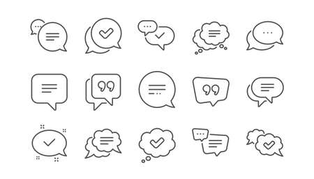 Chat and quote line icons. Approved, Checkmark box and Social media message. Chat speech bubble, Tick or check mark, Comment quote icons. Think speech bubble. Linear set. Vector