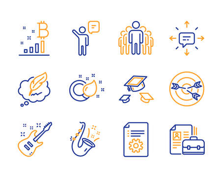 Agent, Jazz and Copyright chat icons simple set. Paint brush, Targeting and Bitcoin graph signs. Technical documentation, Throw hats and Electric guitar symbols. Group, Sms and Vacancy. Vector