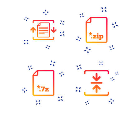 Archive file icons. Compressed zipped document signs. Data compression symbols. Random dynamic shapes. Gradient document icon. Vector Illustration
