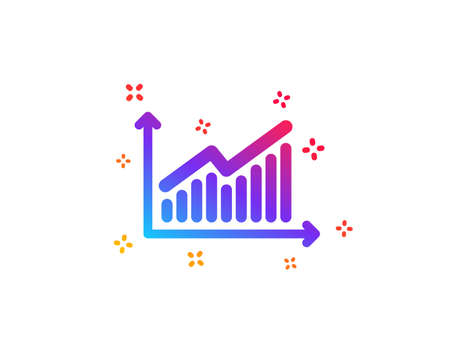 Chart icon. Report graph or Sales growth sign. Analysis and Statistics data symbol. Dynamic shapes. Gradient design graph icon. Classic style. Vector