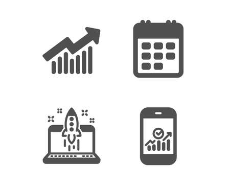 Set of Demand curve, Start business and Calendar icons. Smartphone statistics sign. Statistical report, Launch idea, Event reminder. Mobile business.  Classic design demand curve icon. Flat design Imagens - 124559806