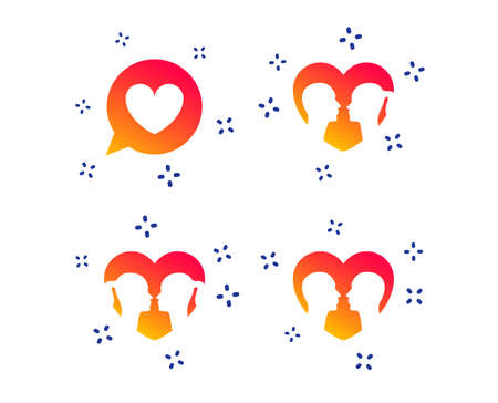 Couple love icon. Lesbian and Gay lovers signs. Romantic homosexual relationships. Speech bubble with heart symbol. Random dynamic shapes. Gradient couple icon. Vector