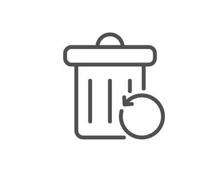 Recovery trash bin line icon. Backup data sign. Restore information symbol. Quality design element. Linear style recovery trash icon. Editable stroke. Vector