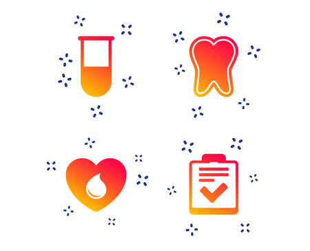 Medical icons. Tooth, test tube, blood donation and checklist signs. Laboratory equipment symbol. Dental care. Random dynamic shapes. Gradient medicine icon. Vector Standard-Bild - 124559921