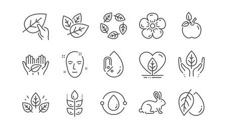 Organic cosmetics line icons. No alcohol free, synthetic fragrance, fair trade. Sustainable textiles, animal testing, eco organic icons. Linear set. Vector Illusztráció