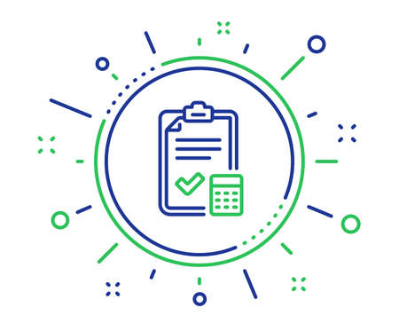 Accounting checklist line icon. Calculator sign. Calculate finance symbol. Quality design elements. Technology accounting checklist button. Editable stroke. Vector  イラスト・ベクター素材