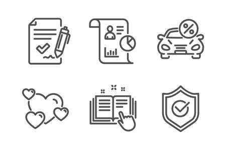 Technical documentation, Approved agreement and Heart icons simple set. Car leasing, Report and Approved shield signs. Manual, Signature document. Technology set. Line technical documentation icon Illustration