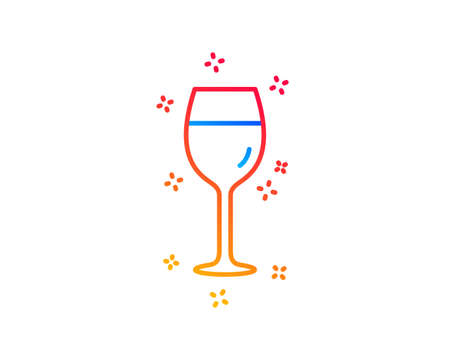 Wine glass line icon. Bordeaux glass sign. Gradient design elements. Linear wine glass icon. Random shapes. Vector