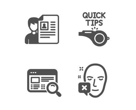 Set of Tutorials, Job interview and Website search icons. Face declined sign. Quick tips, Cv file, Find internet. Identification error.  Classic design tutorials icon. Flat design. Vector