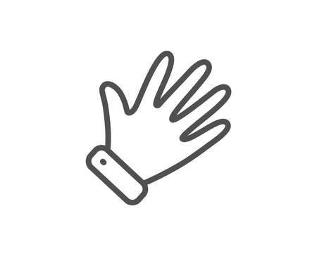 Hand line icon. Wave palm sign. Gesture symbol. Quality design element. Linear style hand icon. Editable stroke. Vector Illustration