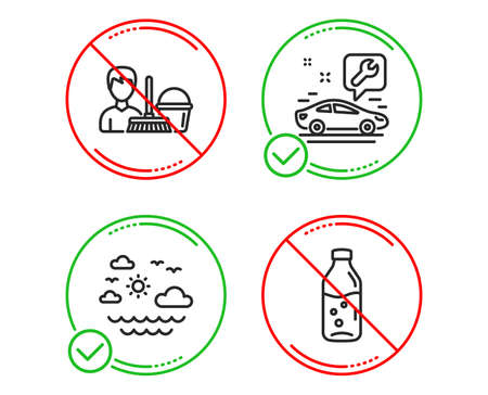 Do or Stop. Car service, Travel sea and Cleaning service icons simple set. Water bottle sign. Summer holidays, Bucket with mop, Soda drink. Business set. Line car service do icon. Prohibited ban stop