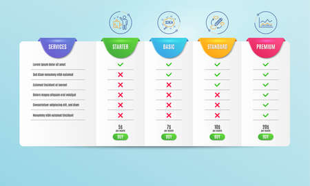 Strategy, Keywords and Idea icons simple set. Comparison table. Trade infochart sign. Business plan, Marketing strategy, Creative message. Business analysis. Education set. Pricing plan. Vector