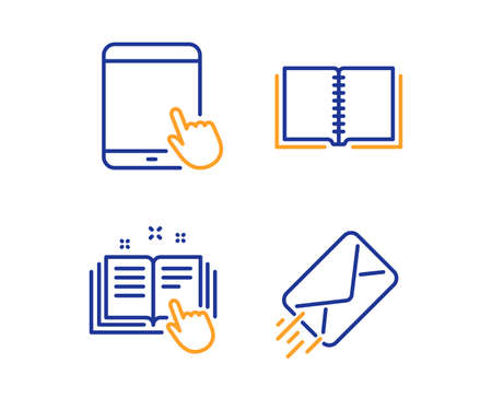 Technical documentation, Tablet pc and Book icons simple set. E-mail sign. Manual, Touchscreen gadget, E-learning course. Mail delivery. Education set. Linear technical documentation icon. Vector