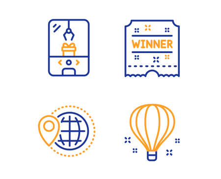 Crane claw machine, World travel and Winner ticket icons simple set. Air balloon sign. Attraction park, Map pointer, Carousels award. Sky travelling. Holidays set. Linear crane claw machine icon Ilustração