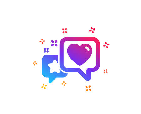 Star, heart icon. Feedback rating sign. Customer satisfaction symbol. Dynamic shapes. Gradient design heart icon. Classic style. Vector