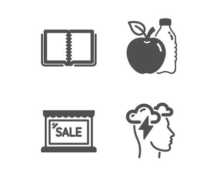 Set of Sale, Apple and Book icons. Mindfulness stress sign. Shopping store, Diet food, E-learning course. Cloud storm.  Classic design sale icon. Flat design. Vector