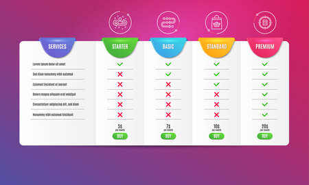 Methodology, Online buying and Recruitment icons simple set. Comparison table. Calculator target sign. Development process, Shopping cart, Manager change. Audit. Business set. Pricing plan. Vector