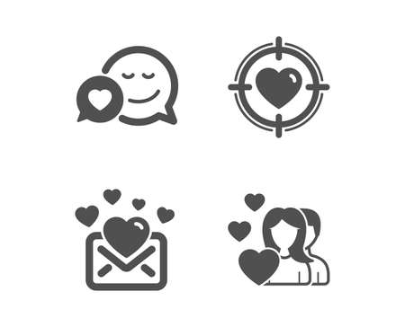 Set of Valentine target, Dating and Love mail icons. Couple sign. Heart in aim, Love messenger, Valentines letter. Valentines day.  Classic design valentine target icon. Flat design. Vector Illustration