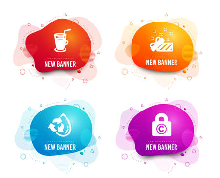 Liquid badges. Set of Recycle water, Present and Cocktail icons. Copyright locker sign. Refill aqua, Gift, Fresh beverage. Private information.  Gradient recycle water icon. Flyer fluid design Illustration