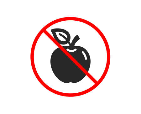 No or Stop. Apple icon. Fresh fruit sign. Natural food symbol. Prohibited ban stop symbol. No apple icon. Vector