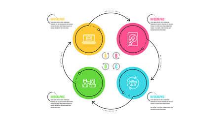 Conjunto simple de iconos de comunicación de correo electrónico, disco duro y personas. Línea de tiempo de infografía. Actualizar signo de carro. Mensaje nuevo, disco de memoria, gente hablando. Las compras en línea. Conjunto de negocios. Infografía de ciclo. Vector