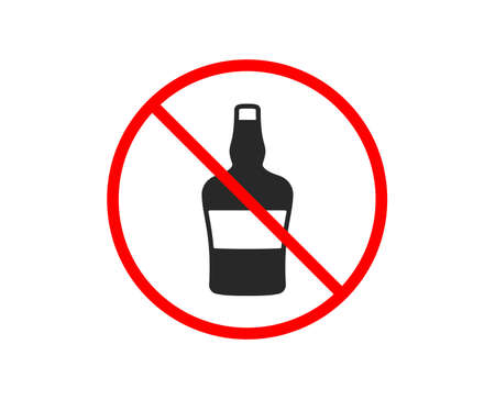 No or Stop. bottle icon. Brandy alcohol sign. Prohibited ban stop symbol. No bottle icon. Vector