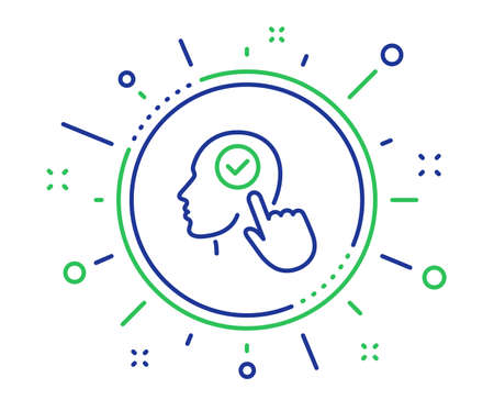 Head line icon. Select user sign. Checkbox symbol. Quality design elements. Technology select user button. Editable stroke. Vector Illustration
