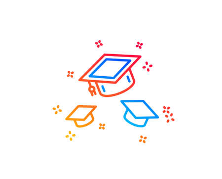 Graduation caps line icon. Education sign. Student hat symbol. Gradient design elements. Linear throw hats icon. Random shapes. Vector 向量圖像