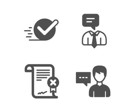 Set of Checkbox, Reject certificate and Support service icons. Person talk sign. Approved, Decline file, Human talking. Communication message.  Classic design checkbox icon. Flat design. Vector