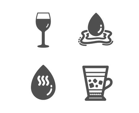 Set of Wine glass, Hot water and Water splash icons. Frappe sign. Bordeaux glass, Aqua drop, Cold drink.  Classic design wine glass icon. Flat design. Vector
