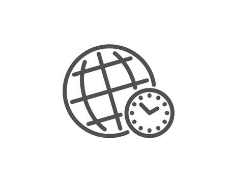 Time zone line icon. World clock sign. Watch symbol. Quality design element. Linear style time zone icon. Editable stroke. Vector